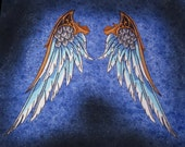 Huge Wing Gold Silver and Blue Set Steam Punk Iron ON Patch