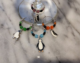 Penguin Penguins Wine Charms with Pouch
