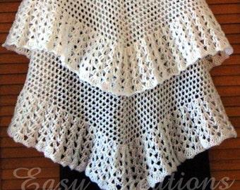 CROCHET PATTERN Bridal Wedding Shawl Shell lacy fancy light weight skill level intermediate