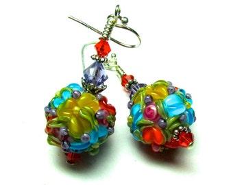 Bright Colorful Flower Earrings Lampwork Earrings Handmade Earrings Glass Earrings Artisan Earrings Colorful Earrings Beaded Earrings