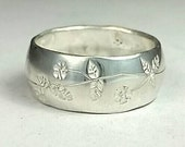 Sterling silver domed band flower pattern band Order Your Size free US shipping ready to ship