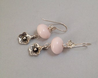Pink Flower Earrings - Glass and Thai Silver (E-464)
