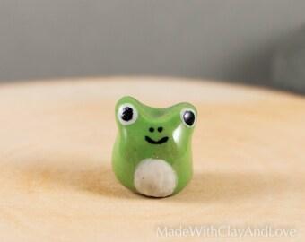 Little Frog - Hand Sculpted Miniature Ceramic Terrarium Figurine Animal