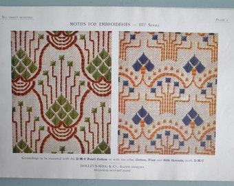 Vintage Embroidery Book 1920s  - Motifs for Embroideries No. 3 -  Art Nouveau designs - 20s sewing book - floral designs