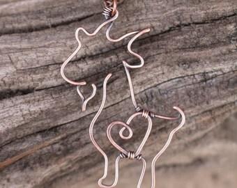 Goat Necklace. Oxidized Copper. Wire Jewelry