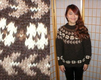 80s brown wool handknit pull over sweater womens size medium or large