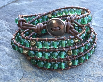 BOHO Green Glass & Antiqued Brass Bead Quadruple (4) Wrap Brown Leather Bracelet