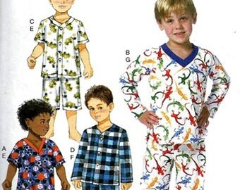 BOYS PAJAMAS  PATTERN / Make Child's Long or Short Pjs / Sizes 2 - 5 or 6 - 8