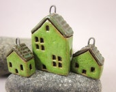 Grass Green Cottages...Set of Stoneware House Pendant and Earrings