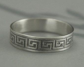 Greek Key Ring--Sterling Silver Wedding Band--Grecian Maze Design Band--Greek Fret Band--Meander Band--Ancient Greece Ring