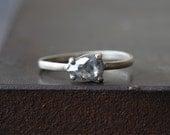 Natural Rose Cut Silvery- Grey Diamond Ring