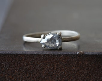 Natural Rose Cut Silvery- Grey Diamond Ring