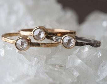 Custom Clear Rose Cut Diamond Stacking Ring
