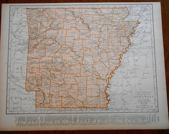 Vintage Arkansas Map Etsy - Maps of arkansas