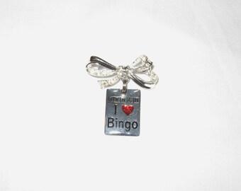 Bow Brooch ~ I Heart BINGO OR I Love Bingo Pin