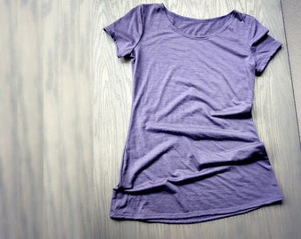 Dusty grape merino wool fitted tee shirt, wool underwear, wool shirt