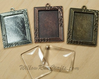 20 pcs 25 x 35mm Victorian Rectangle Pendant trays wtih Glass in Antique Copper, Antique Silver, Antique Bronze  25mm x 35mm.
