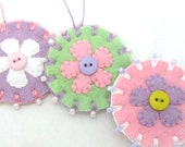 Beaded Easter/Spring Penny Ornaments with Flower Design - Set of 3