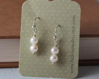 Double Freshwater Pearl & Sterling Silver Earrings.
