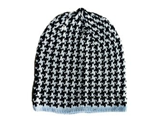 Knit Baby boy hat, Black and white houndstooth beanie, Knit Baby boy beanie, Newborn baby boy, Knit beanie, Baby shower boy, summer beanie