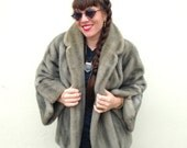 Vintage Gray Vegan Friendly FAUX FUR Winter Fall Coat Jacket 1950s 1940s Fur Coat