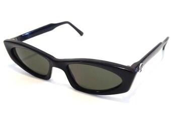 Vintage I SKI Thin Retro Futuristic BLACK Designer Sunglasses