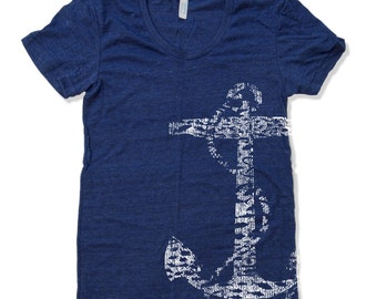Women's Vintage ANCHOR t shirt american apparelS M L XL (16 Colors Available)