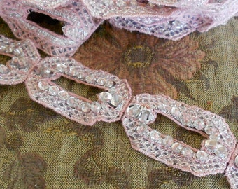 Pale Pink Silver Beaded Trim