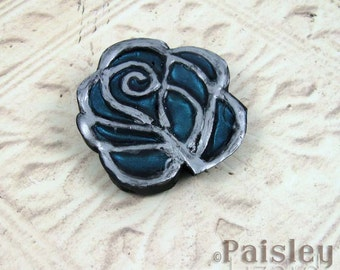 Teal Rose Brooch, mixed media blue green flower pin