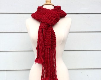 Ruby red knitted scarf, long red scarf, red knit fringe scarf, long scarf with fringe, hand knit scarf, red knit scarf