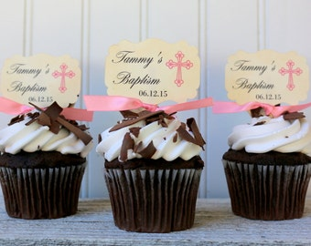Baptism cupcake toppers, God Bless, Personalized, Girl Baptism