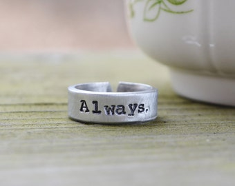 Always Ring - Harry Potter Inspired Ring - Romantic - Love - Looks Like Silver - Adjustable Ring
