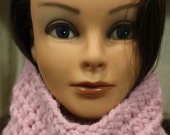 Rose Pink Girl's Cowl or Neckwarmer, Hand Crocheted