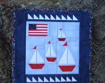 Red White Blue Sailboat Wallhanging