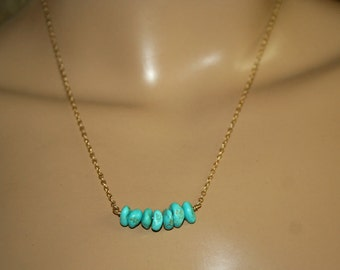 Turquoise gold necklace Handmade 14K gold fill chain Blue natural Turquoise Dainty necklace