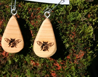 Bee Earringsn Juniper Wood  (014)- Wooden Jewelry, Boho Jewelry