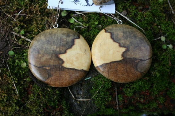 Earrings in Rare Incredible Wood   Boho Natural  Wood 1 3/4  in.  tall.Jewelry  06