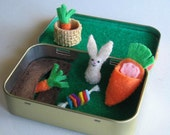 Bunny rabbit garden miniature stuffed animal felt play set in Altoid tin