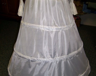 """Childs Youth or Small Adult  Petticoat 3 Bone Hoop, WHITE Nylon, ajustable 80 to 97"""" circle and 34"""" long Steel Boning"""