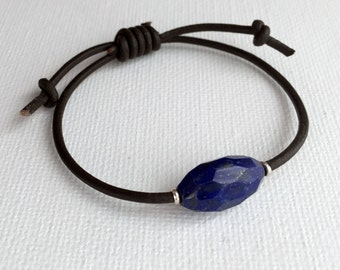 Lapis Lazuli Bracelet with Leather, Karen Thai Hill Tribe Silver, Faceted Unisex Jewelry