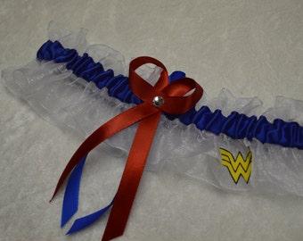 Handmade wedding garter keepsake  WONDER WOMAN Super Hero wedding garter