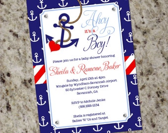 Ahoy it's a Boy! - Baby Boy Nautical Themed Baby Shower Invitation - Printable Design