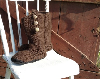 Mukluk style ugg inspired slipper boot hand knit brown