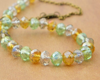 Tri Color Necklace - Golden, Green, Grey,  Brass, Bronze, Rustic, Warm, Jewelry Necklace, Stones, Crystal, Statement Necklace, Rondelles