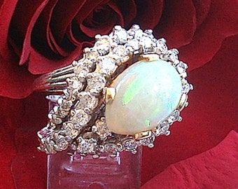 Retro14K, 5 Ct Natural Diamonds And Opal White Gold Ring Fine Jewelry