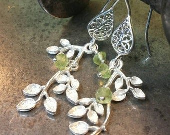 Apple Tree Earrings - Sterling Silver and Natural Faceted Peridot - Handmade and Ready to Ship