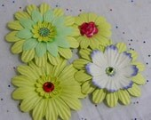 Gorgeous Green Paper Flowers...Set of 4