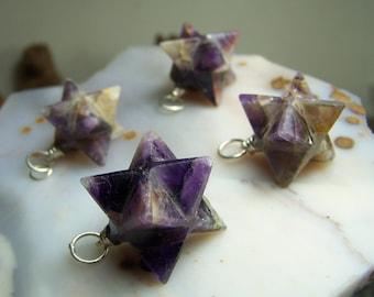 Amethyst in matrix crystal stone Merkaba necklace pendant or pendulum  - Sacred geometry meditation stone star - focal bead silver purple X3