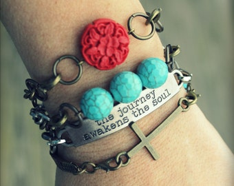 8pc Indie Interchangeable Bracelet Set... Inspirational Quote Bar, Cross, Turquoise Bead, Red Carved Resin Flower
