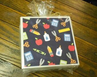 School Teacher Coasters, Set of Four, Gift for Teacher, Teacher Appreciation, End of School Year Gift, Preschool, Kindergarten, Primary, Art